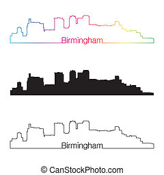 Birmingham skyline linear style with rainbow in editable vector file