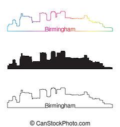 Birmingham skyline linear style with rainbow in editable vector file