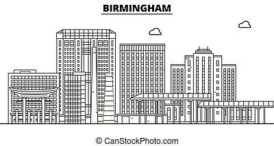 Birmingham, United States, flat landmarks vector illustration. Birmingham line city with famous travel sights, design skyline.