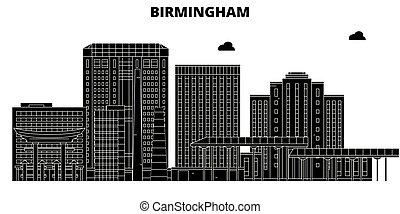 Birmingham, United States, vector skyline, travel illustration, landmarks, sights.