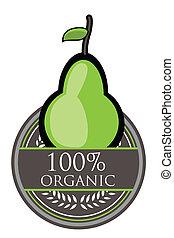 birne, organische , etikett