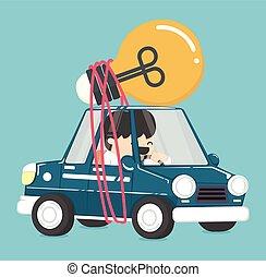 birnen, fahren, auto, idee, haben, geschäftsmann