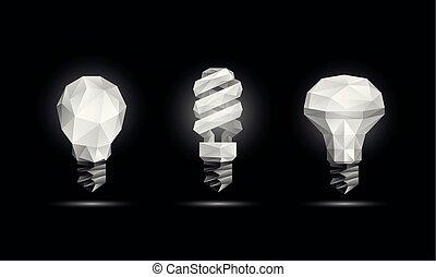birnen, leuchtdiode, licht, set., poly, polygonal, hintergrund., glühen, vektor, schwarz, abbildung, fluoreszierend, zwiebel, modell, 3d, niedrig