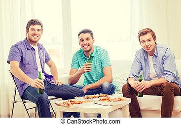 birra, appendere, sorridente, fuori, amici, pizza