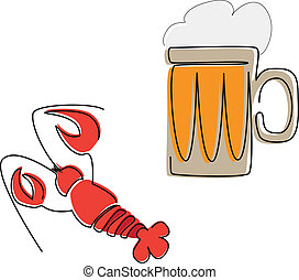 birra, aragosta, tazza