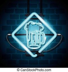 birra, bevanda, neon, etichetta