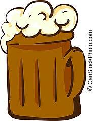 birra, bianco, fondo., vettore, illustrazione