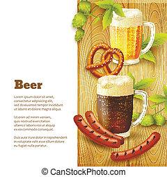 birra, bordo, spuntini