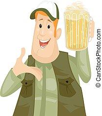 birra, brocca, uomo