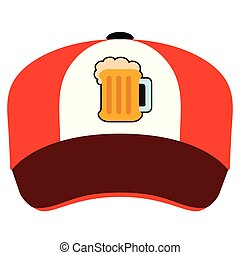 birra, cappello, isolato, icona