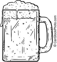 birra, cartone animato, boccale vetro, disegno, o, pinta