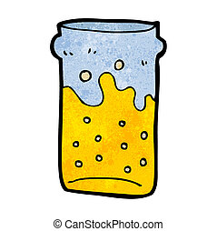birra, cartone animato, pinta