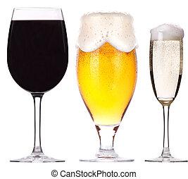 birra, champagne, isolato, vino