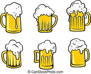 birra chiara, birra, set, tankards