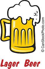 birra chiara, dorato, birra, schiumoso, o, pinta