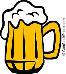 birra chiara, dorato, testa, tankard, schiumoso