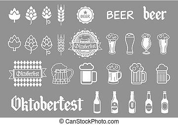 birra chiara, icone, set., birra, vettore, nero