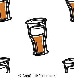 birra chiara, sidro, tazza birra, o, modello, inglese,...