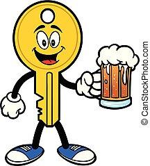 birra, chiave, mascotte