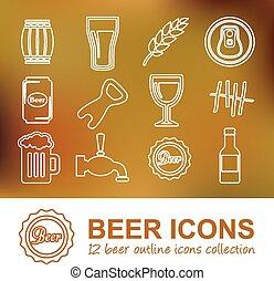 birra, contorno, icone