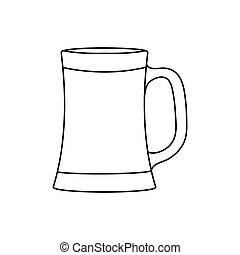birra, contorno, isolato, tazza bianca, vuoto, fondo