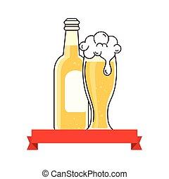 birra, decorazione, fondo, bianco, bottiglia, vetro, nastro