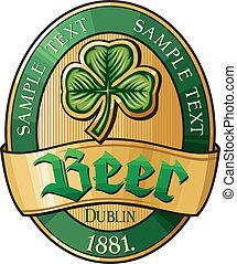 birra, design-, irlandese, etichetta
