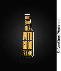 birra, disegno, bottiglia, fondo