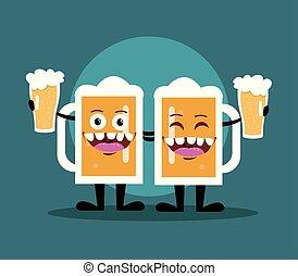 birra, disegno, cartone animato, bottiglia