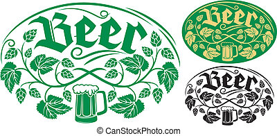 birra, disegno, etichetta