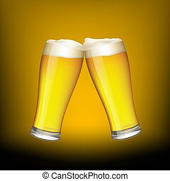 birra, due, occhiali