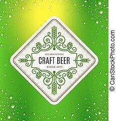 birra, emblema, flourishes, etichetta