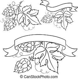 birra, emblemi, labels.