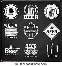 birra, emblemi, lavagna