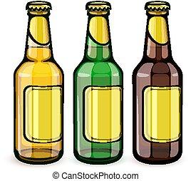 birra, etichette, bottiglie, vuoto