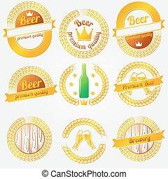 birra, etichette, emblemi