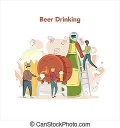 birra, fermentazione, pescaggio, process., mestiere, concept., fabbrica birra, produzione