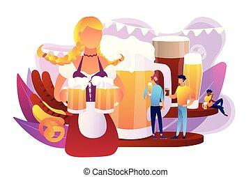 birra, fest, concetto, vettore, illustration.