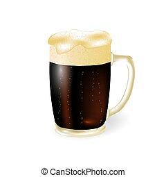 birra, festival, beer., schiuma, isolato, illustrazione, scuro, fondo., tazza, bianco