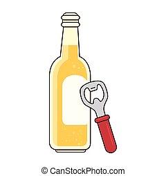 birra, fondo, bianco, apribottiglie