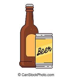 birra, fondo, bianco, bottiglia, lattina