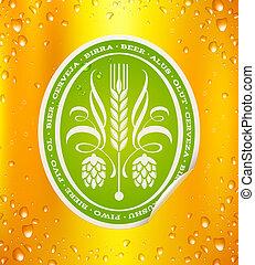 birra, fondo, etichetta