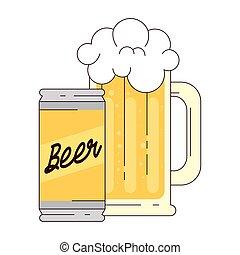 birra, fondo, tazza bianca, lattina
