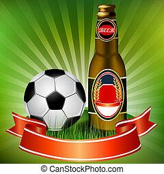 birra, football, nastro, rosso