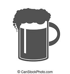 birra, illustrazione, tazza, vettore, fondo, bianco, icona