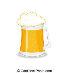 birra, isolato, illustrazione, vetro, vettore, fondo, bianco