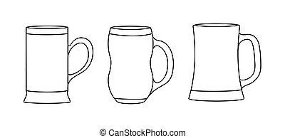 birra, isolato, vuoto, bianco, set, tazze, contorno, fondo