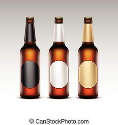 birra, luce, bottiglie, etichette, vetro, rotondo, isolato, marcare caldo, su, vettore, dorato, marrone, chiuso, chiudere, set, nero, trasparente, fondo, vuoto, bianco