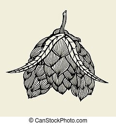 birra, luppolo, illustrazione