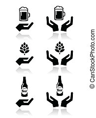 birra, mani, bottiglia, icona